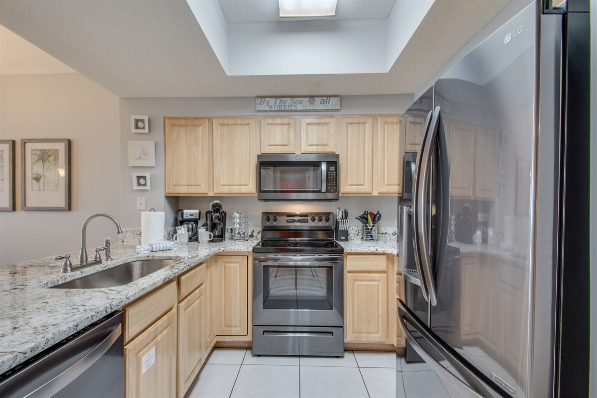 Fully stocked kitchen w/everything needed to cook throughout your stay