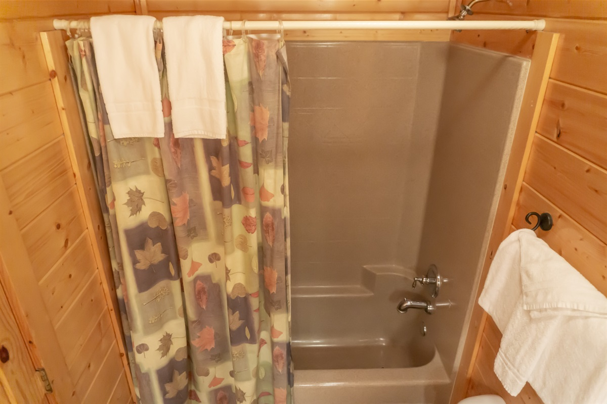 Combination tub/shower in main level bedroom