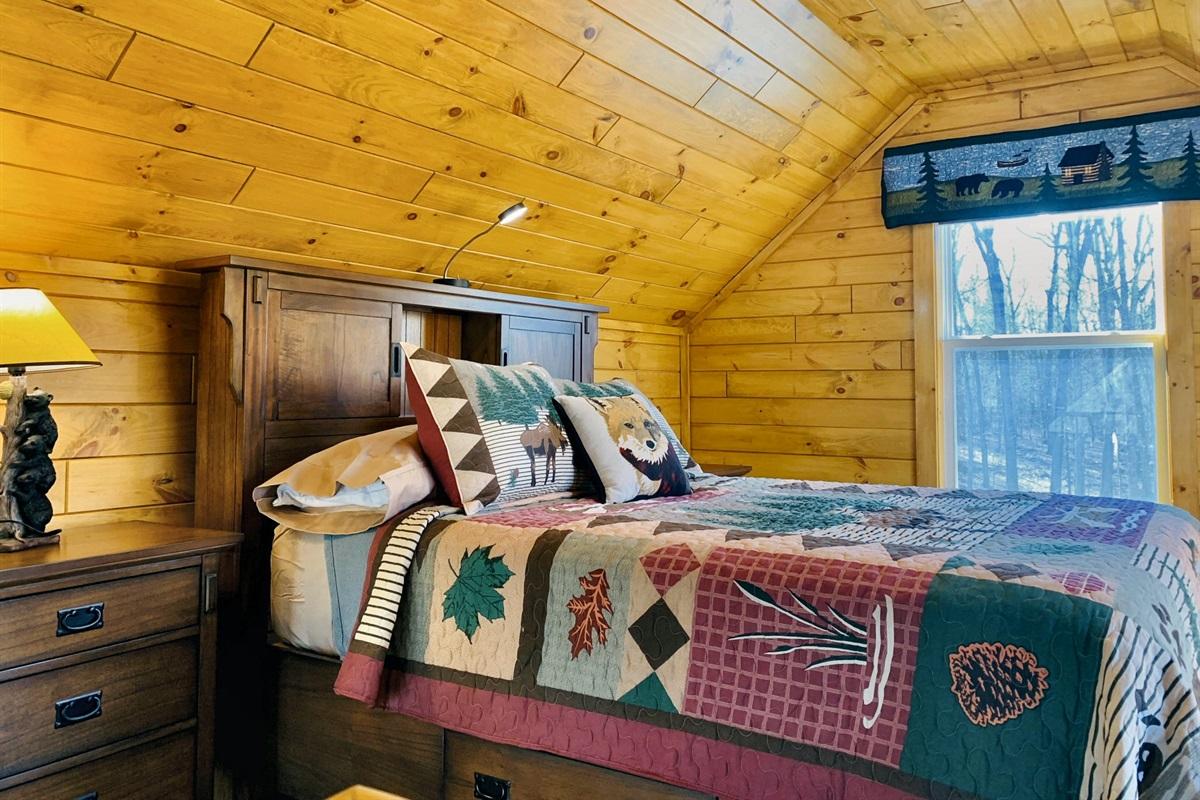 Upstairs loft bedroom, comfortable queen bed