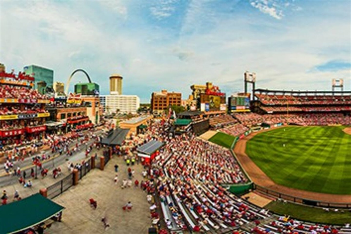 Busch Stadium and the St. Louis Arch in the background
