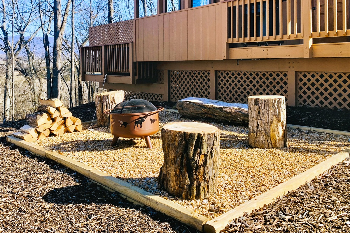 Firepit area, firewood provided (for a daily fee)