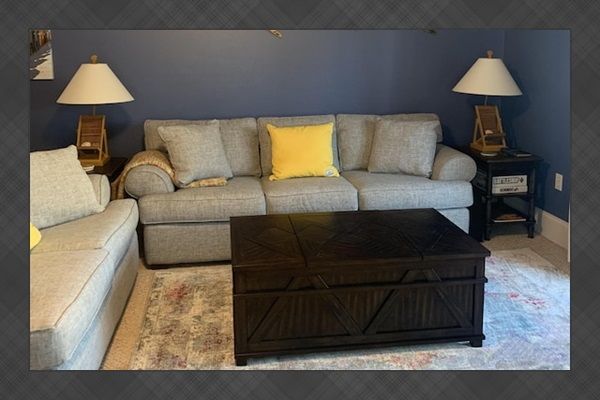 Updated living room with sleeper sofa