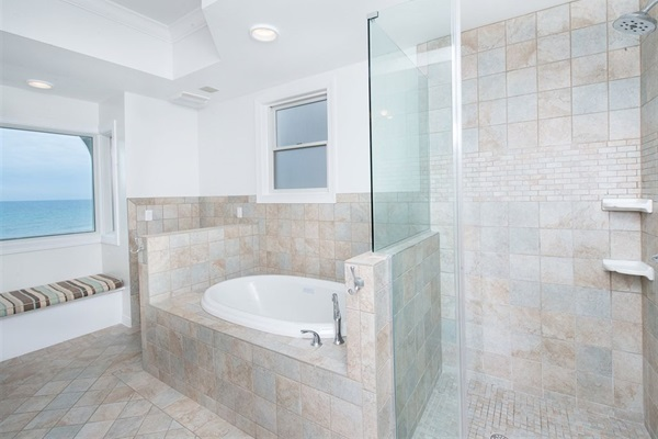 Main House Master Bath with Gulf View, Double Sinks, Jetted Tub & Walk-in Shower