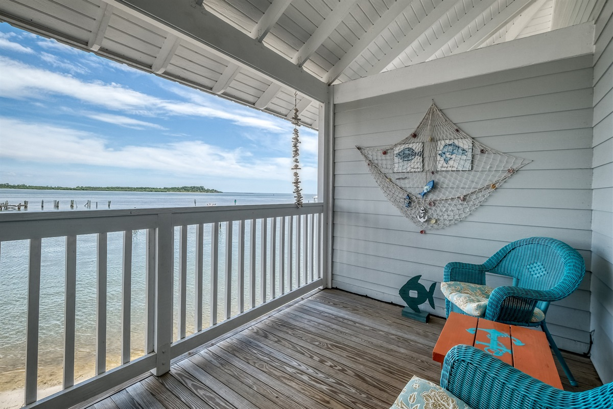 Take in the view of the Gulf on the porch