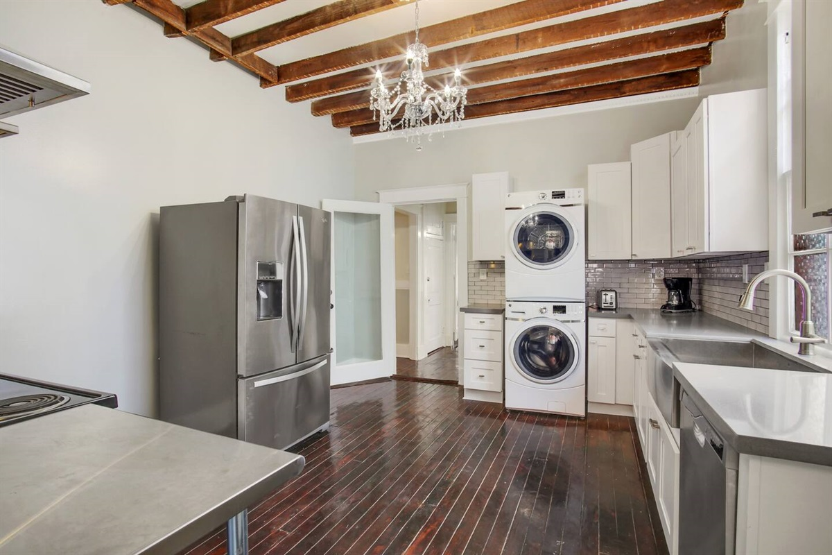 Kitchen with laundry.