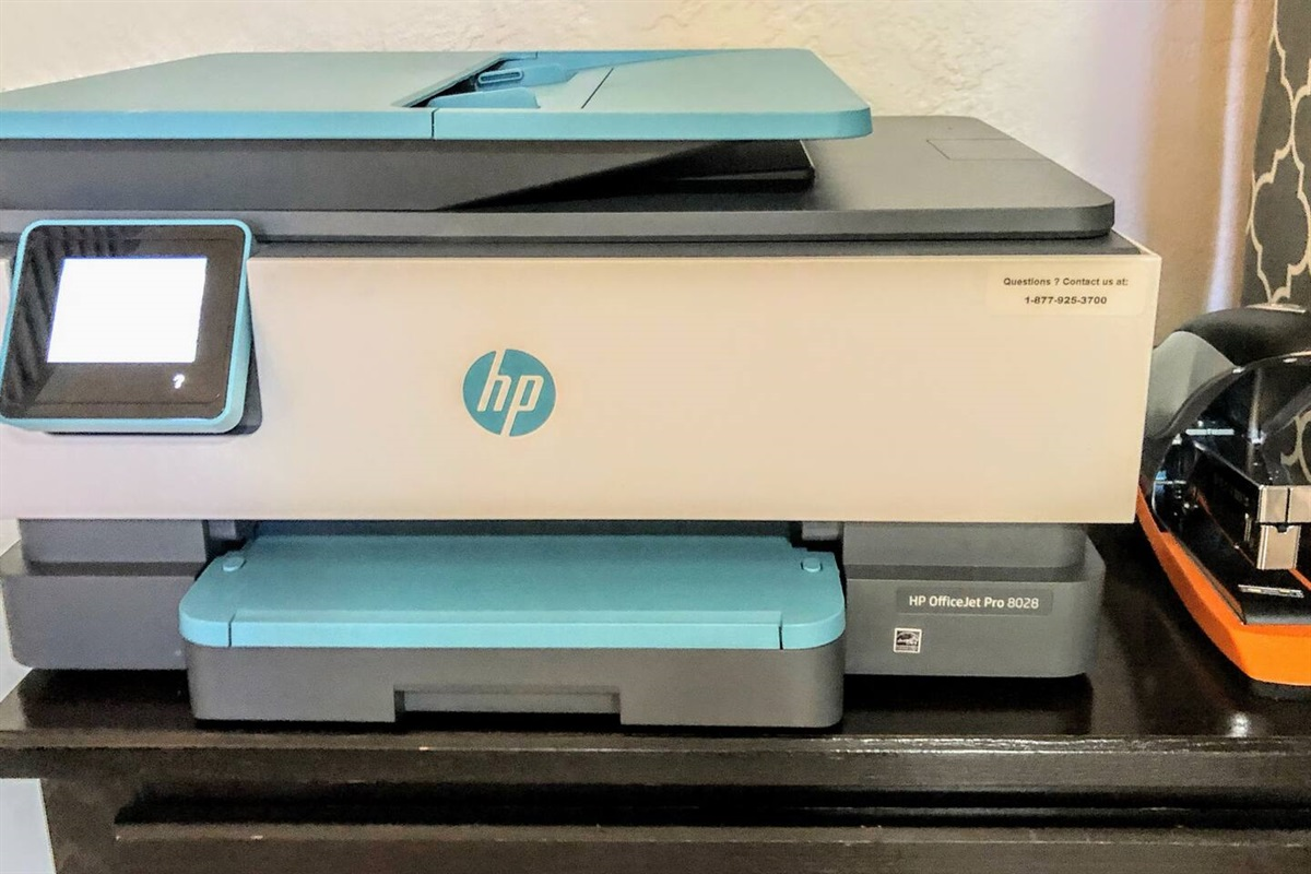 HP Officejet Pro 8028 All-in-One Printer, Scan, Copy, Fax, Wi-Fi and Wireless Printing. Up to 20ppm Black and White, 10ppm Color. Yes, ink, paper, and heavy-duty stapler included.
