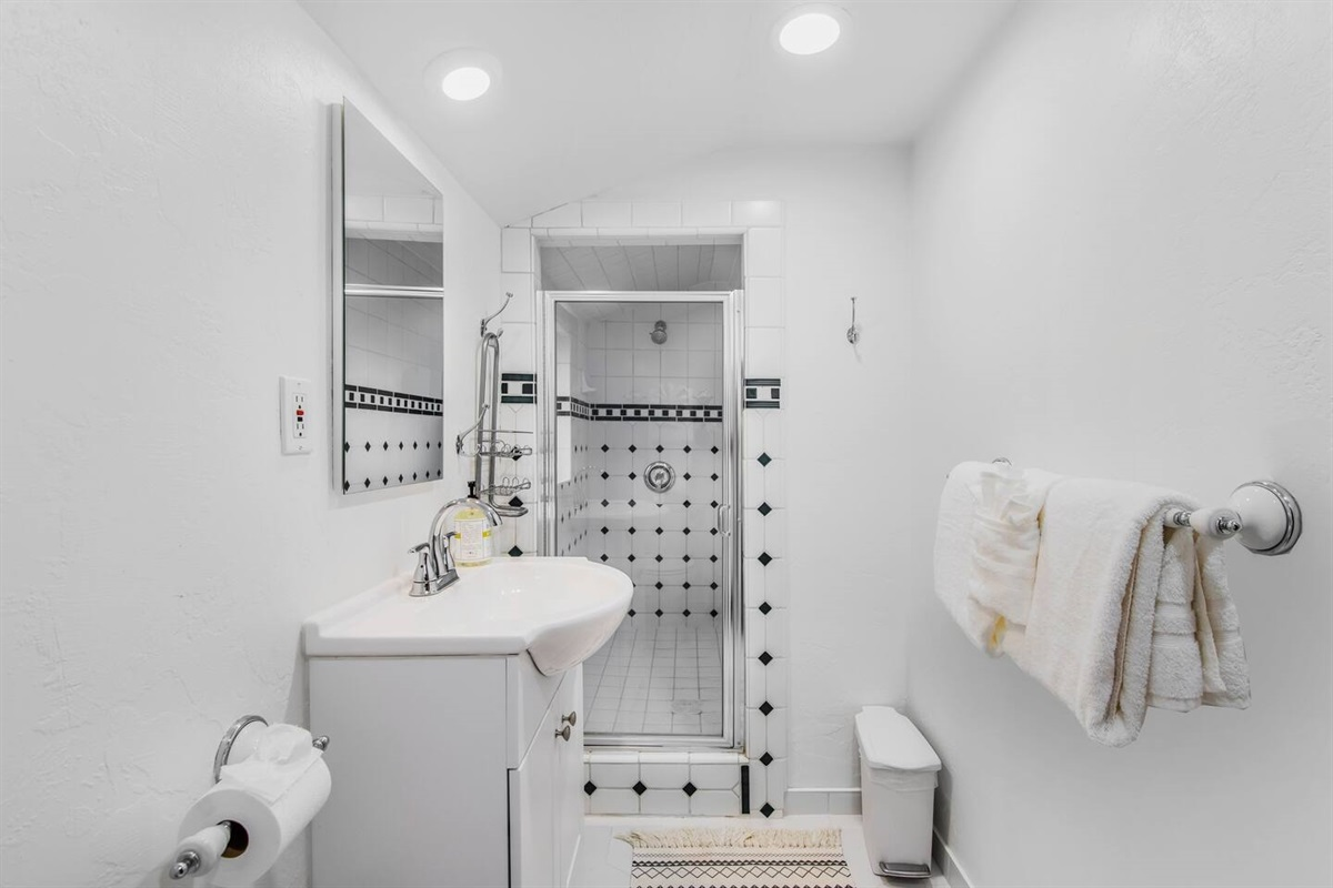 Bathroom #2 (Lower Level): A newly remodeled bathroom with shower.