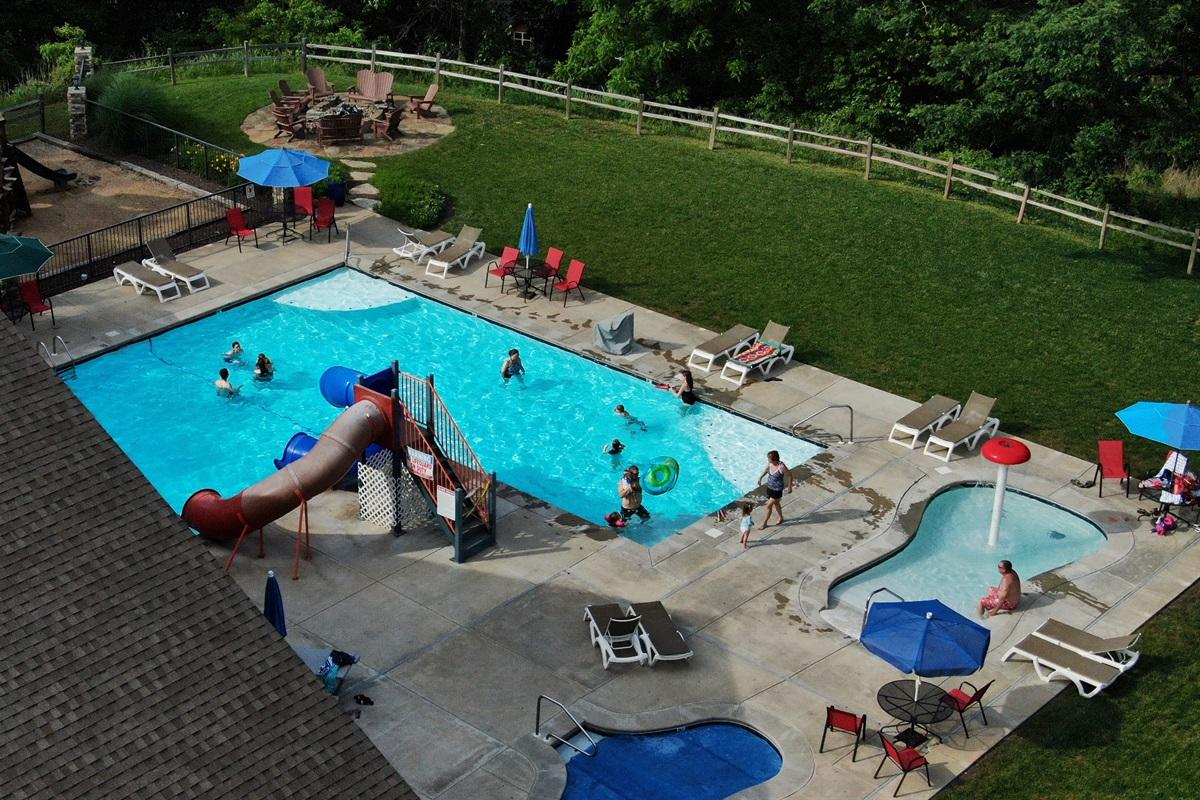 Big pool with slides