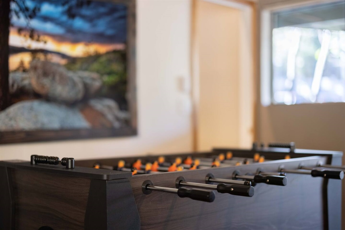 The foosball table is just one of many wonderful amenities at Edelweiss Cabin.