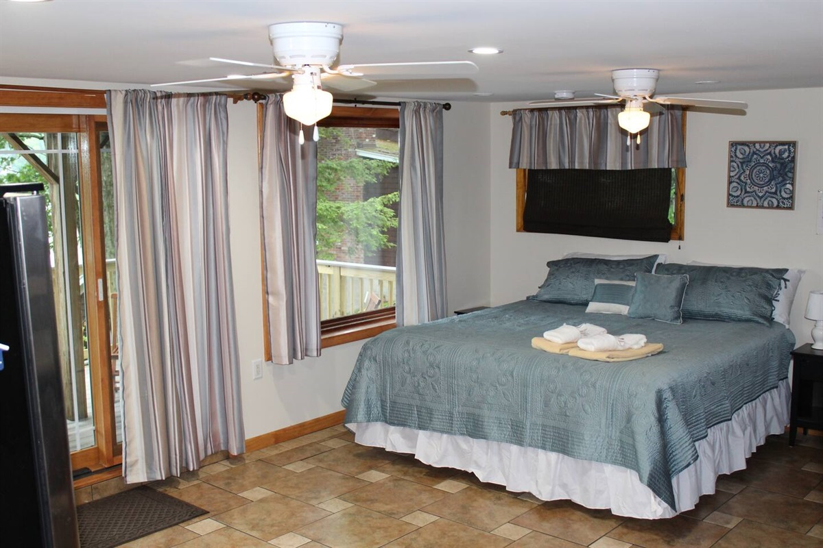 Spacious studio accommodations with a king size bed