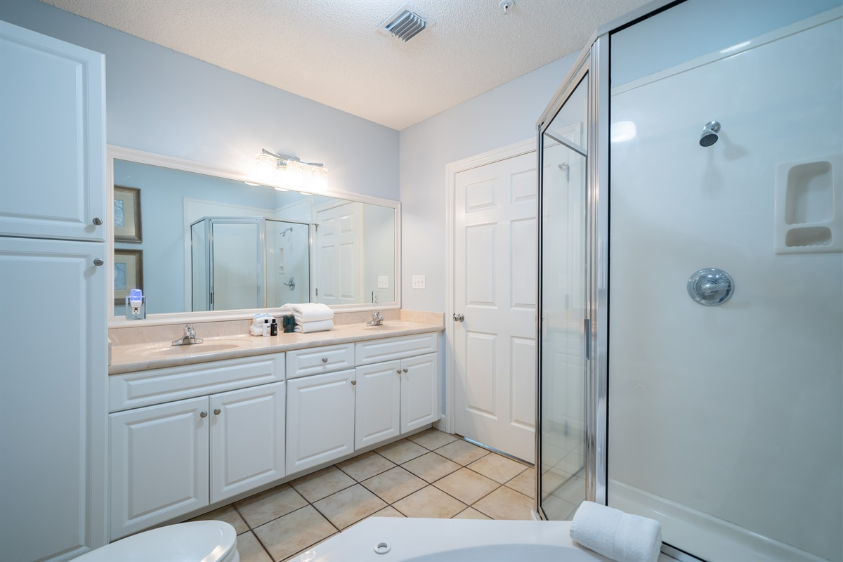 Master bath with separate shower.