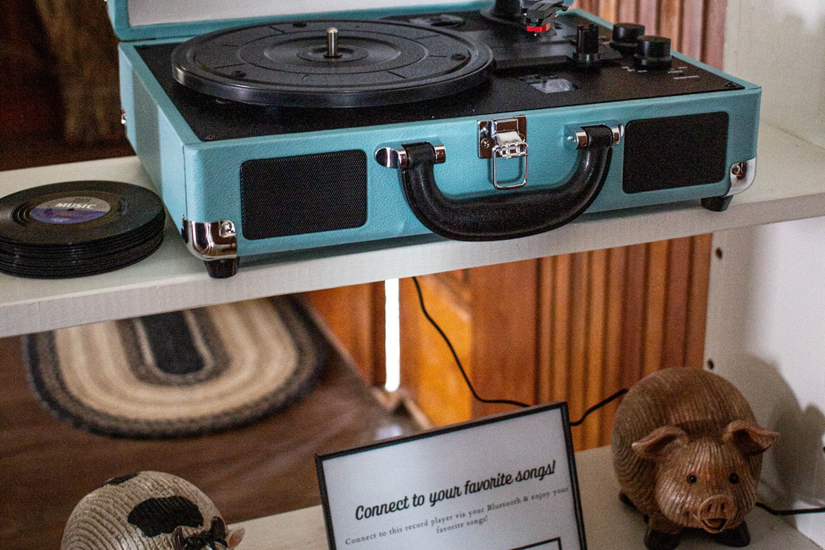 Play albums on the record player (or just use bluetooth!)
