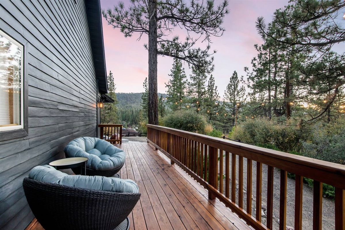 A cozy outdoor seating area for stargazing.