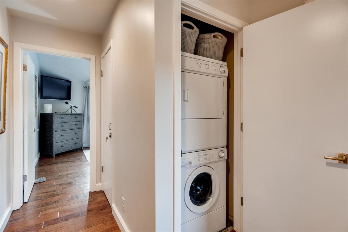 Washer Dryer between bedrooms.