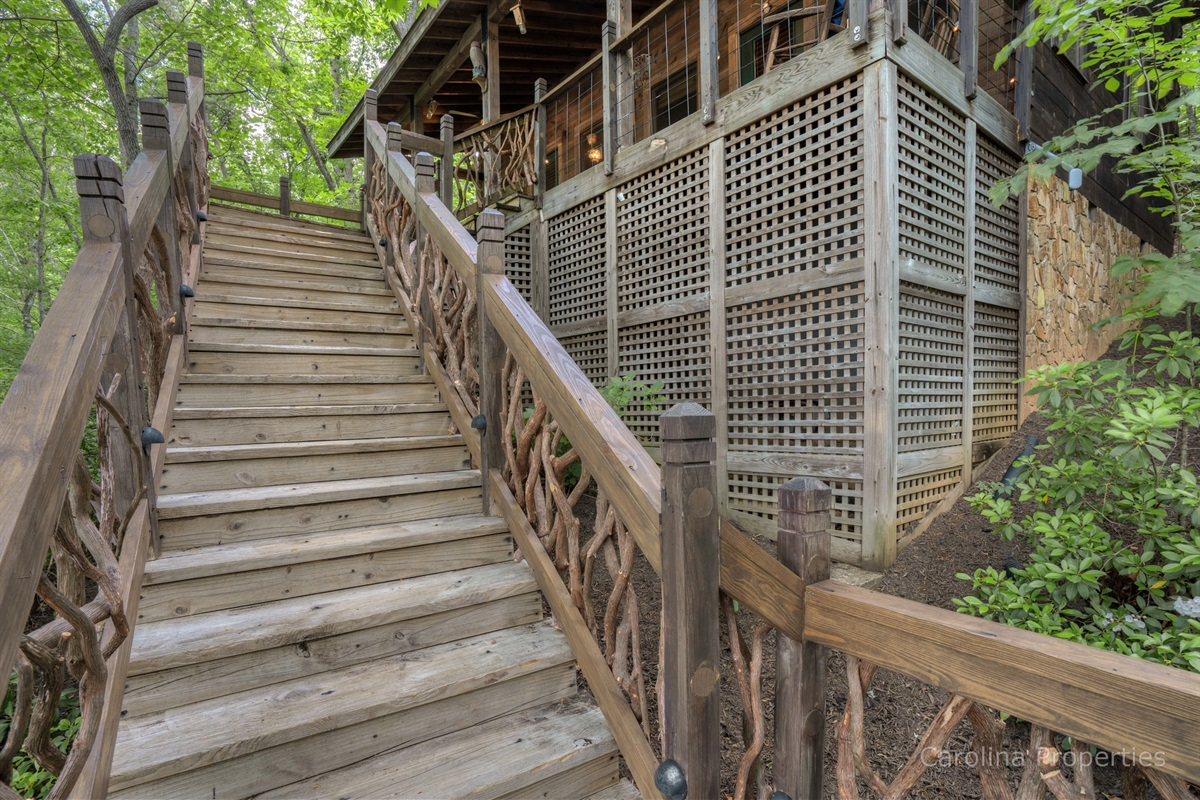 Stairs leading to the cabin
