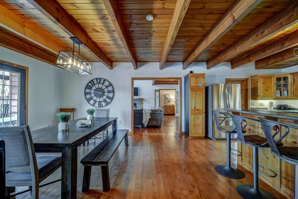 Open Kitchen with French doors opening to the deck