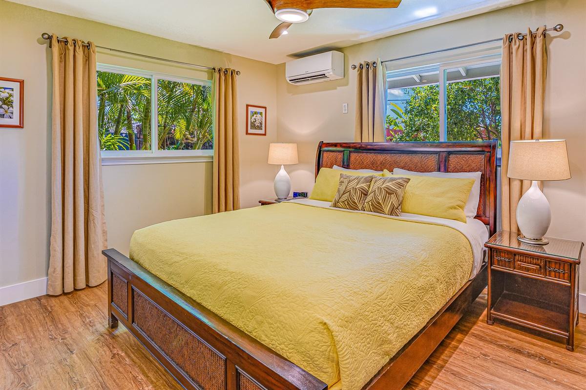"Bedroom #2 King bed (luxury Posturepedic), 32"" HD TV, AC, fan, dresser, mirror"