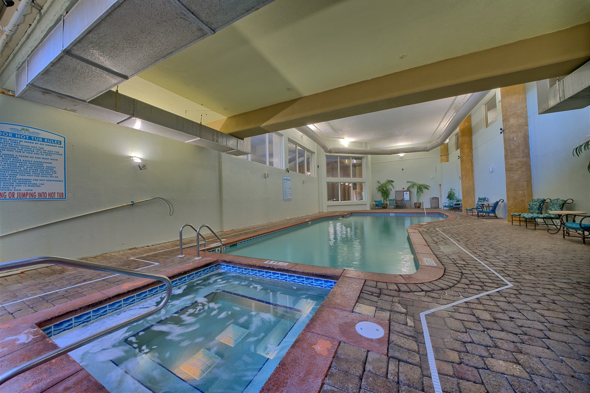 Indoor heated pool and hottub.