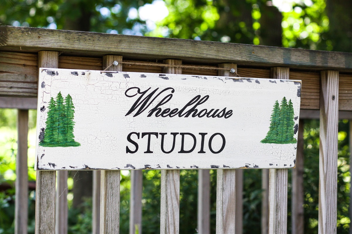 Entrance sign to the studio.