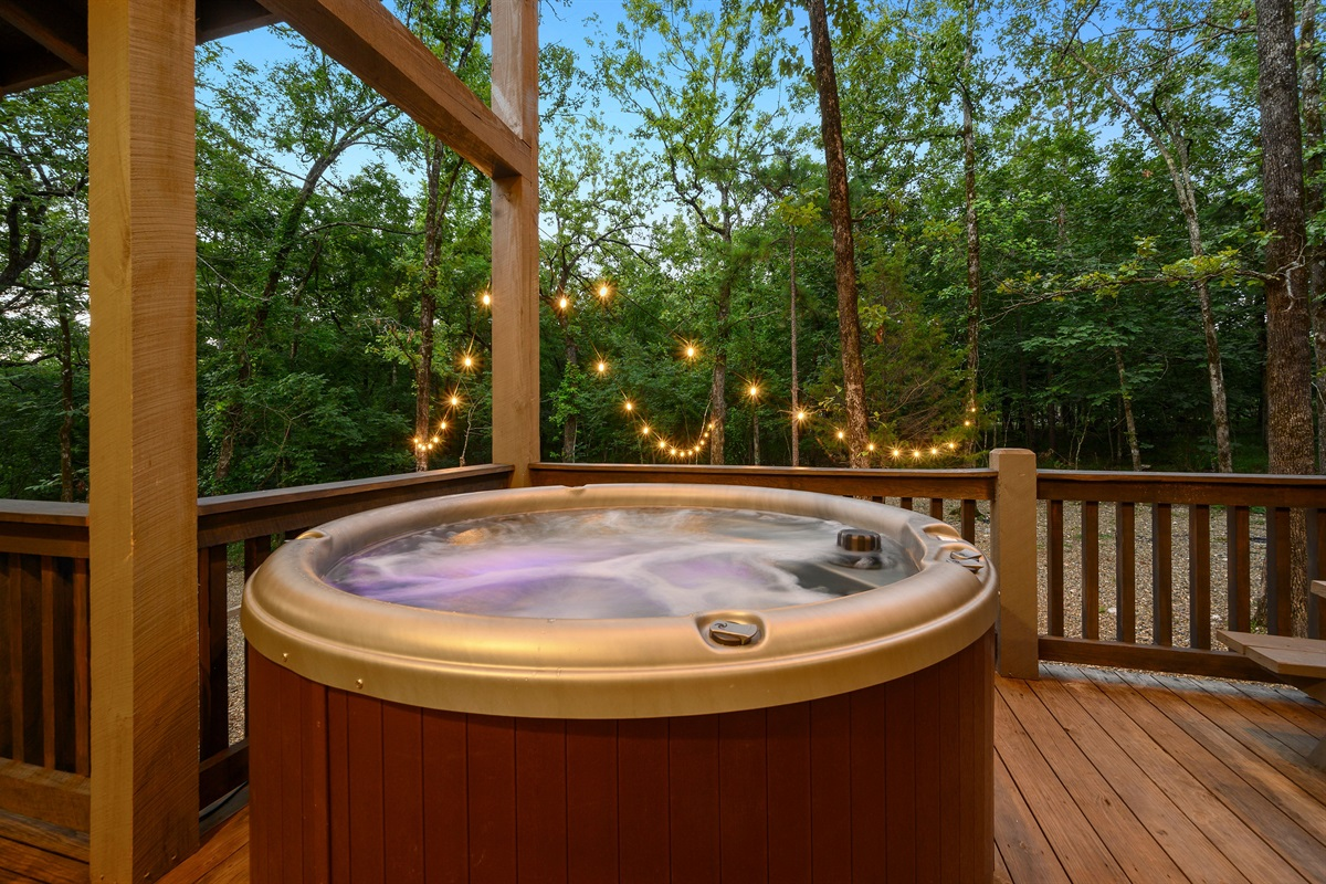 Hot tub overlooks the fire and horseshoe pit