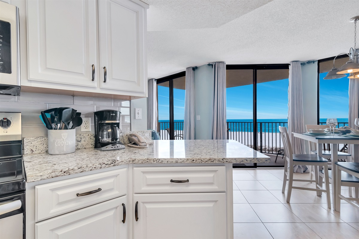 Kitchen & Dining with Beach View