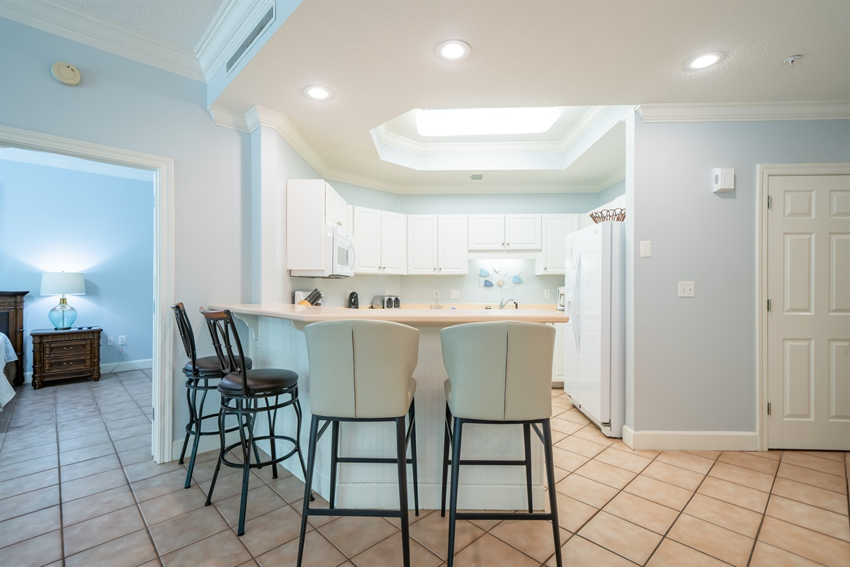 Kitchen with bar seating for 4