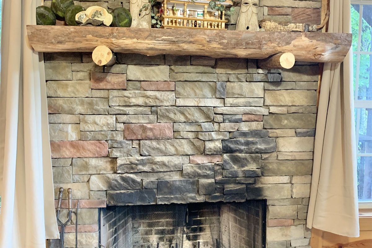Stone Fireplace in the Basement