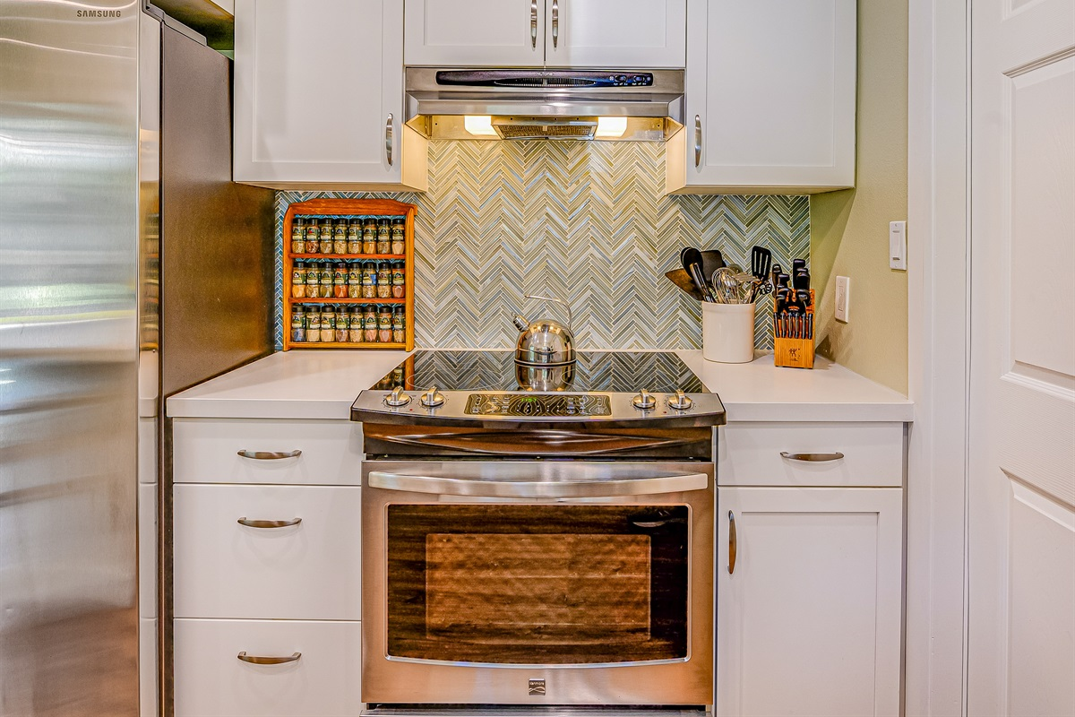 Kitchen is stocked with more than 50 different spices and seasonings.