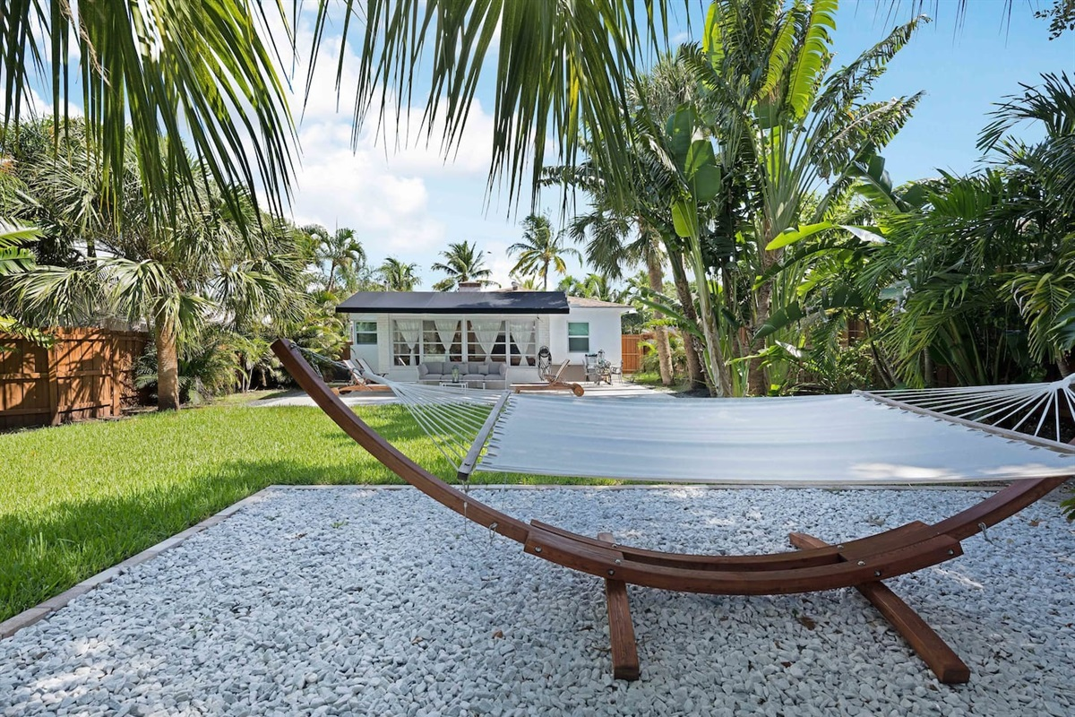 Feel the cool breeze while you gently sway on this great hammock.