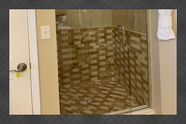 Large updated walk-in shower will leave you refreshed
