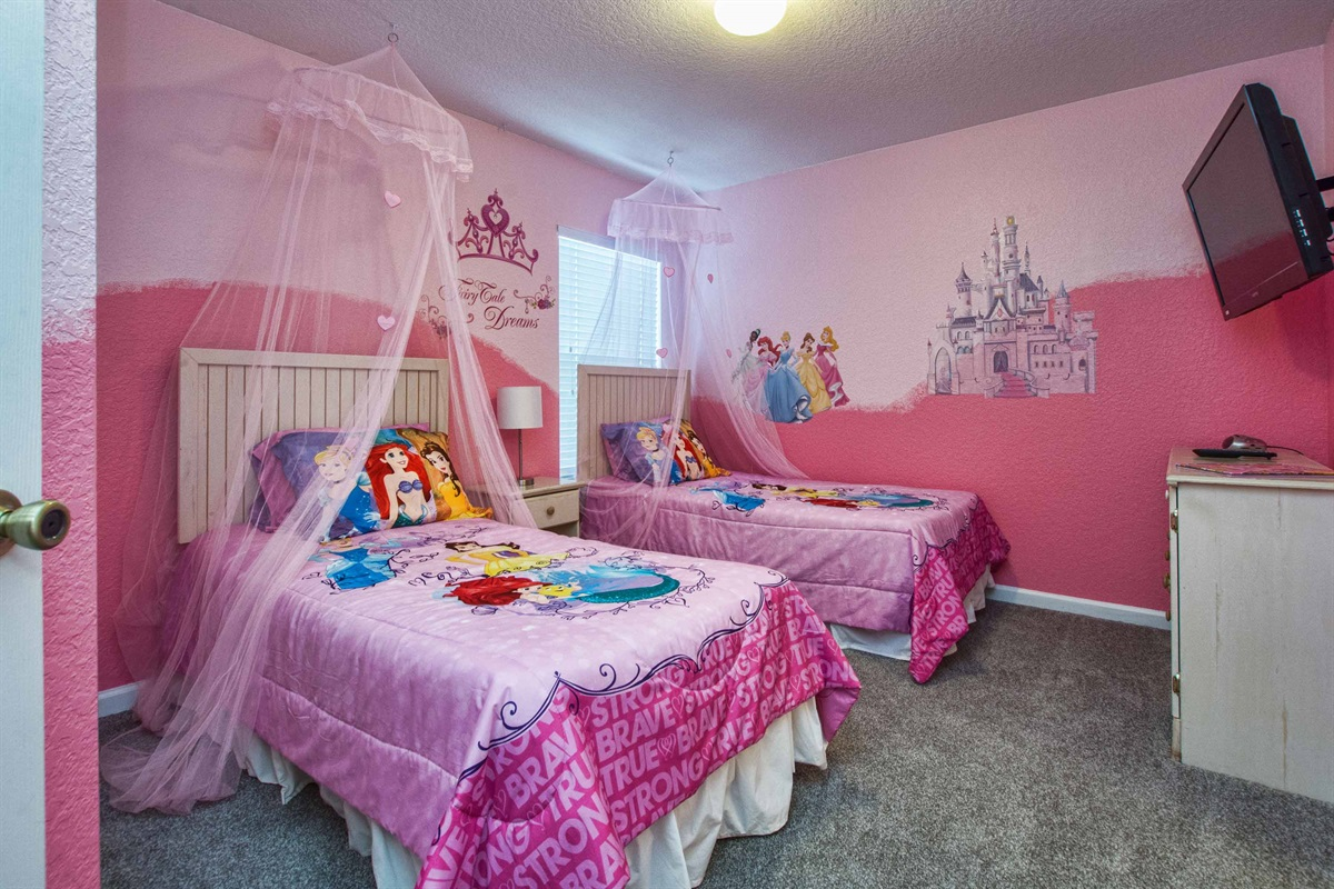 Bright pink Princess bedroom for the special princesses in your life.