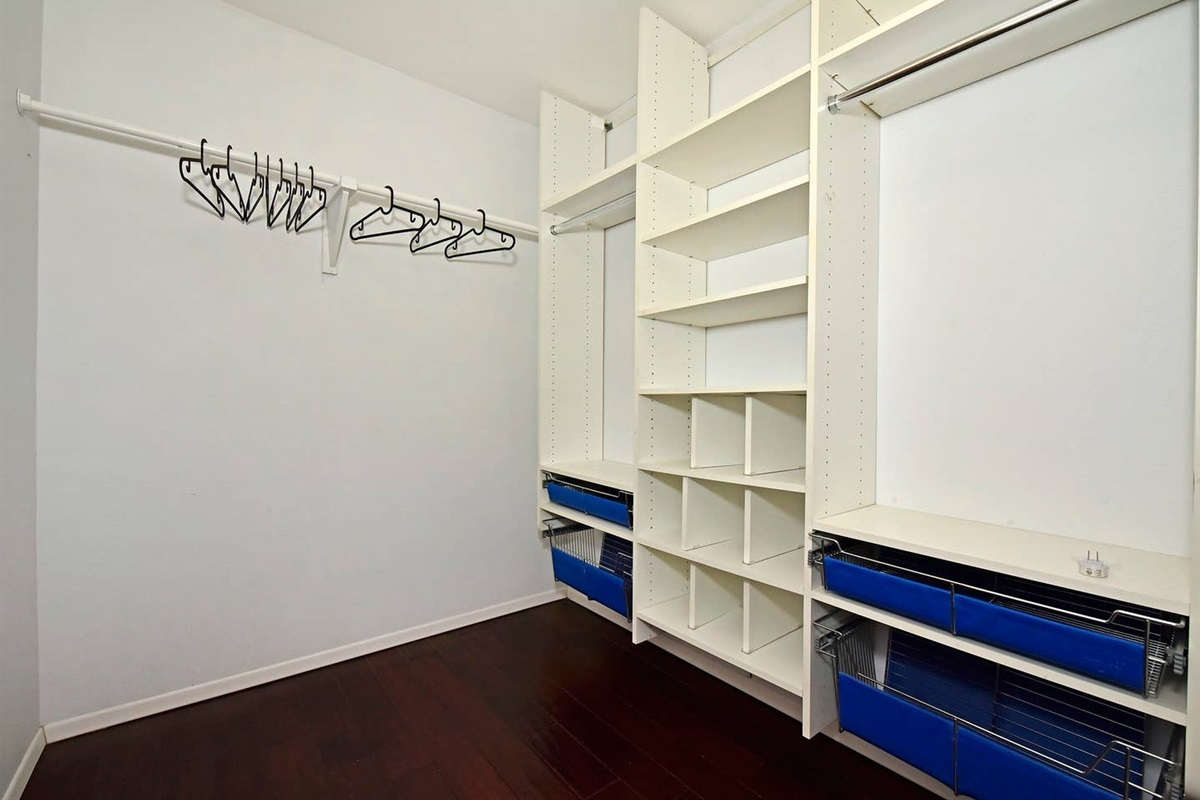 Shelves, baskets, and hangers! Don't live out of a suitcase, unpack and relax!