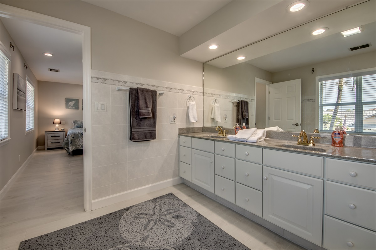 Double sink vanity and shower