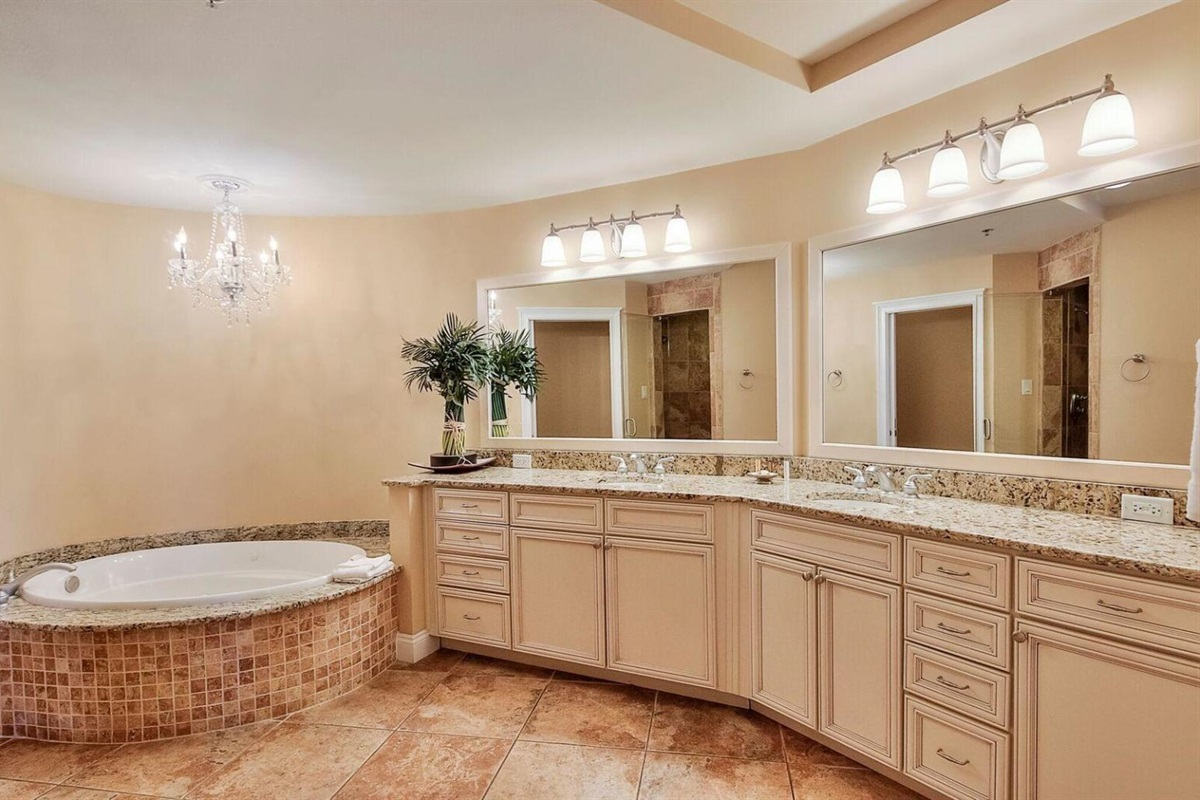 large spa style bath with jetted tub and steam shower