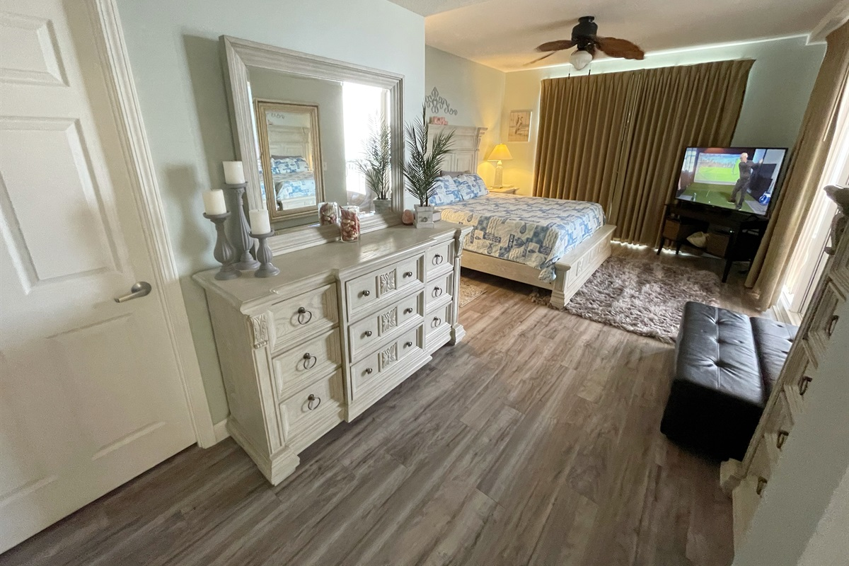 Master suite features king bed