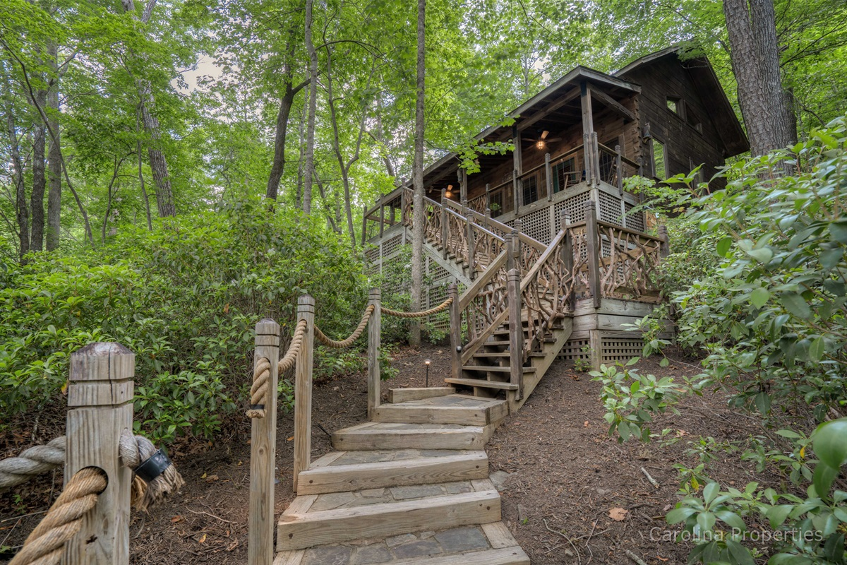 Additional view of stairs leading to the cabin