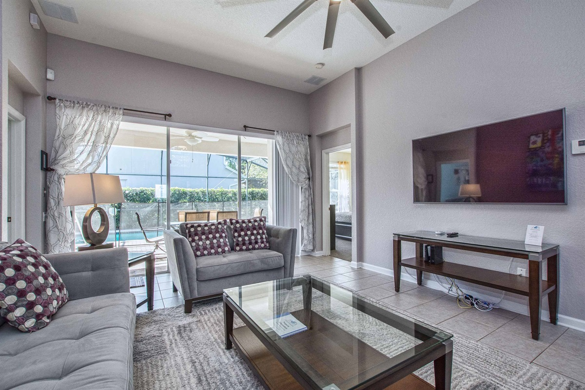 Living room with large screen Smart TV for watching your favorite shows.