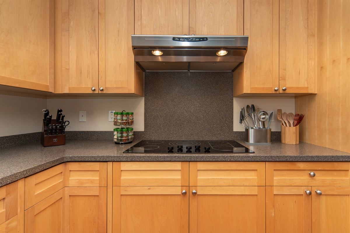 The kitchen is supplied with all the essentials needed for cooking a delicious meal--breakfast, lunch or dinner.