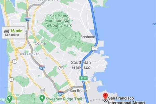 Distance to San Francisco International Airport