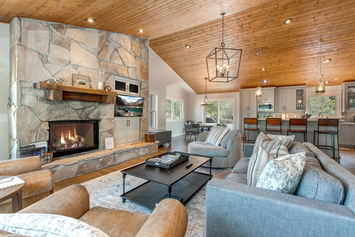 Living Area - gas fireplace - dining - kitchen