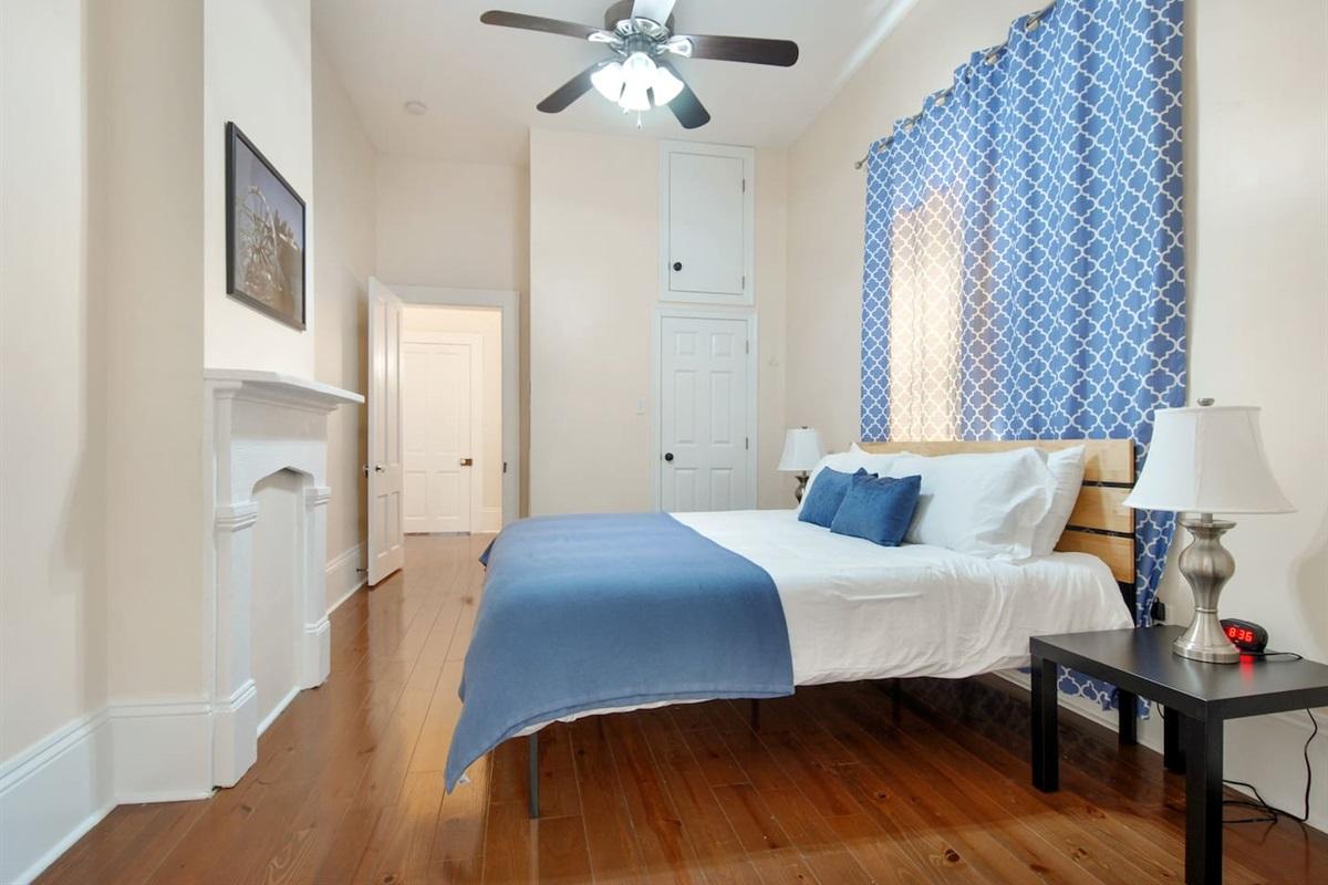 Bedroom 2.  King bed. Closet. Luggage rack.