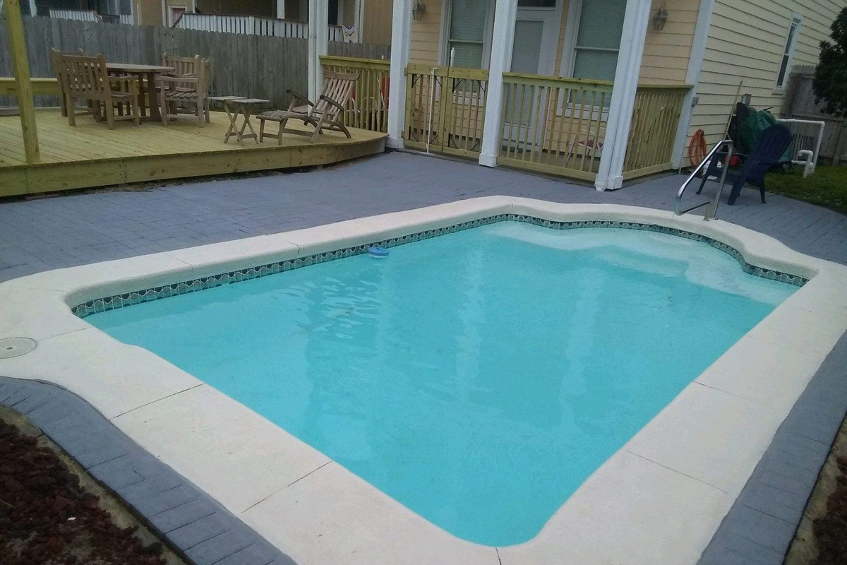 Private pool with deck and tiki bar