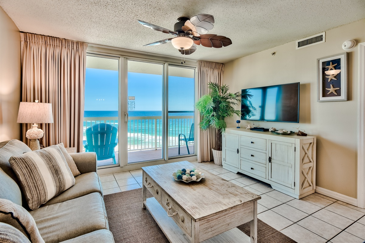 Ocean and Beach views from living room and bedroom
