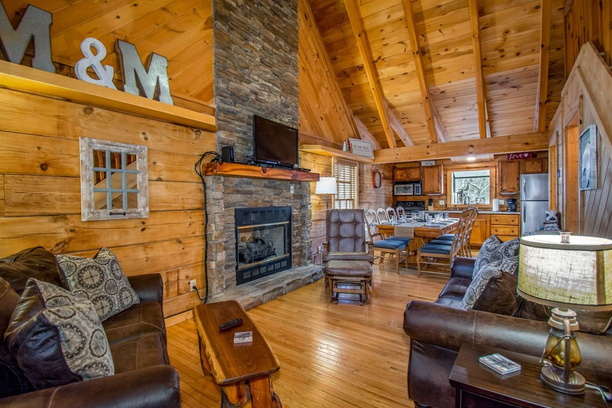 The warm and inviting living area is the perfect family gathering place.