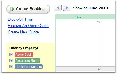 Options and filters on bookings calendar