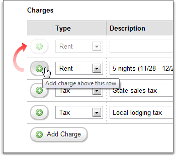 charges grid add in-line row