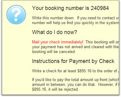success message for check bookings shows instructions