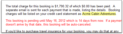 booking confirmation email shows pending warning