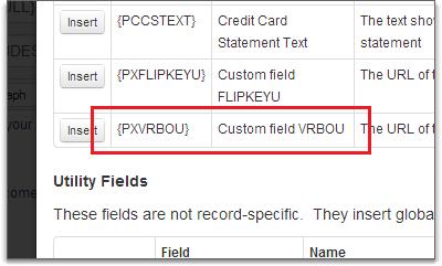 custom fields in email template field selector