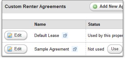 Multiple custom renter agreements grid